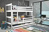 RICO children's bunk bed, solid wooden beds for kids +free mattresses +storage +COLOURS! (Graphite, 160x80)