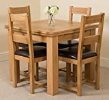 Richmond Small Extending Solid Oak Dining Table + 4 Lincoln Oak Leather Chairs 100% Solid Oak | 90cm - 150cm Extending | Fast & Free Delivery