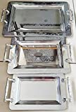 Stainless Steel Tea / Coffee Tray Silver Serving Tray Set of 3 Tray platters (elegant4741)