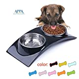 SUPER DESIGN SuperDesign Stainless Steel Double Bowl with Melamine Stand, for Dog Cat Food and Water Feeder, Medium, Black