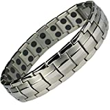MPS EUROPE Classic Titanium Magnetic Bracelet with Fold-Over Clasp, Powerful 3,000 gauss Magnets + Free Gift Wallet + FREE Links Removal Tool