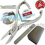 YNR Professional Toe Nail Clippers Nippers Cutters - Chiropody Heavy Duty Thick Nails - Ingrown Toenail Cutters - Diamond Deb Nail Files Set for Seniors
