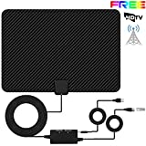 Indoor HDTV Aerial, XBoze HD Digital Aerial Paper Thin HDTV Antenna, 50+ Miles Range Freeview Indoor TV Aerial with 16.5FT Long Cable, Advanced Amplifier Booster for Digital and Analog TV Signals (Black)