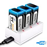 Keenstone 3-Slot 9V PP3 Battery Li-ion Charger with 3 Pack 9V PP3 Li-ion battery Rechargeable 800mAh (USB Charging Cable Included)