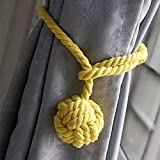 Gluckliy A Pair of Hand Knitting Curtain Rope Clips Holder Holdbacks Tieback with Single Ball for Home Room Decor (Yellow)