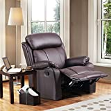 Leisure Zone  Leather Recliner Chair Tilt Sofa Push Back Armchair Sofa for Home Lounge Gaming Cinema High-Back Chair (Black)
