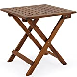 forestfox Low snack folding table Acacia wood small bistro coffee side square furniture