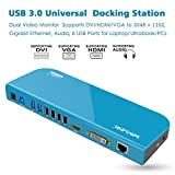 Wavlink USB 3.0 Universal Docking Station with Gigabit Ethernet, Video Monitor Display HDMI/ DVI/ VGA (up to 2048×1152), 6 USB Ports, Audio Output/ Input for Laptop/ PC/ Mac OS-Blue