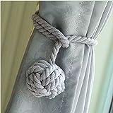 Do4U A Pair of Hand Knitting Curtain Rope Clips Holder Holdbacks Curtain Tieback with Single Ball (Grey)