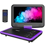 ieGeek 11.5' Portable DVD Player with Game Joystick, 5 Hour Rechargeable Battery, Support DVD, USB & SD Card Memory Playing, Directly Play AVI/RMVB/MP3/JPEG, Purple