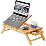 Andrew James Laptop Stand Table in Bamboo Wood - Portable Tray with Stationary Drawer and Adjustable Legs for use on Bed Desk or Couch