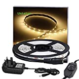 Ustellar Dimmable LED Strip Lights Kit, 5M Strip Lighting, 300 Units SMD 2835 LEDs, 12V LED Tape, Non-waterproof Warm White LED Ribbon with Power Adaptor for TV Backlight Stairway Home Decoration