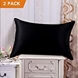 MOVEONSTEP Pillow Cases 2 Pack Housewife Luxury Bedroom Pillow Covers Plain Silky-soft Brushed Microfiber Pillowcases Queen Size 75*50cm (Black)