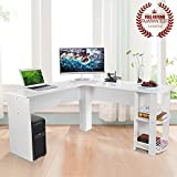 L-Shaped Office Computer Desk, Large Corner PC Table with 2 Shelves for Home and Office Use, White Wood Grain