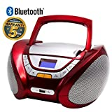 Lauson Cd-Player | Boombox | Portable Radio CD Player with Bluetooth | Usb & MP3 Player | Headphone Jack (3.5mm) | CP749 (Red)