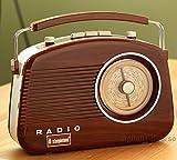steepletone Wood Grain Effect Brighton 1950's Portable Retro Style Rotary Radio