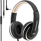Audiance A2.0 Premium Over-Ear Stereo Headphones with Detachable Cable & 3.5mm Jack   Noise Isolating Wired Headset with Built-In Microphone for Hands Free Calls - Gold & Black