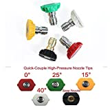 5Pcs High Pressure Washer Spray Nozzle Tips Quick Disconnect Fittings 1/4 Coupler 1.2mm Hole