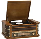 MCR-50 Retro 5-in-1 Turntable Record Player/CD Player/Cassette Tape/Radio/USB - Record to MP3 - MP3 Playback - RCA Output - Remote Control - Vintage Wood