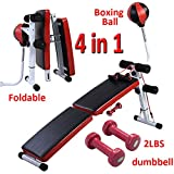 Costway Sit Up Bench AB Abdominal Crunch Exercise Board Boxing Ball Dumbbell Train Ropes