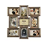 Vintage Gold Multi Aperture Picture Photo Frame, Holds 9 x 6x4'' Photos, Best Gifting Frame, Family Frame By Arpan