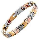 Womens Tri Colour Gold Four Element Magnetic Titanium Bracelet + Free Link Removal Tool By Willis Judd