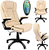 OFFICE DELUXE RECLINING COMFORT LUXURY LEATHER EXECUTIVE 6 POINT MASSAGE CHAIR PU LEATHER WITH 360° SWIVEL AND HEIGHT ADJUSTMENT (CREAM)