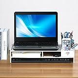 Popamazing Desktop Monitor Stand LCD TV Laptop Computer Screen Riser Shelf with Pockets (White)