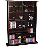 BOSTON - Glass Collectable Display Cabinet / CD DVD Storage Shelves - Dark Oak