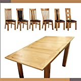 Solid Oak Extending Dining Table with Six Solid Oak Dining Chairs with Oak Legs Solid Oak Dining Set (With 6 Rutland Oak Chairs)