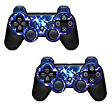 2x Blue electric Playstation 3 (PS3) Controller Sticker / Skin / 3ps9