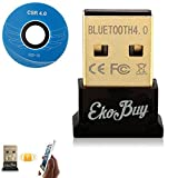 EkoBuy Bluetooth 4.0 USB Dongle Adapter for PC with Gold Plated USB, Bluetooth Transmitter and Receiver For Windows 10 / 8.1 / 8 / 7 / Vista - Plug and Play on Windows 10
