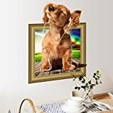 Zooarts 3D Puppy Dog Pets Picture Frame Mural Wall Stickers Decals Vinyl Decor Kids Room Mural