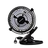 Keynice Mini USB Clip and Desk Personal Fan, Quiet Operation, Desk Fan, Desk Fans, mini fan, table fan,4 Inch 2 Speed Portable Cooling Fan USB Powered by NetBook, Computer MacBook, Power Bank, and PC, 360° up and down ,for Home Office - Black