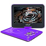 ieGeek 12.5' Portable DVD Player, 5 Hour Rechargeable Battery, Region Free, Supports SD Card and USB, Direct Play in Formats AVI/RMVB/MP3/JPEG, Purple