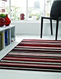 Large Contemporary Linear Stripes Design Quality Black Red Rug / Mat - 120 x 170 cm