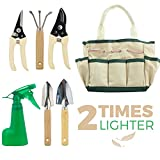 GardenHOME 7 Piece Stainless Steel Garden Tools,includes 3 Tools, 2 Pruners, 1 Sprayer For indoor Bonsai, Planters, Small or Kids Garden ,Perfect Christmas Gift