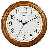 HENSE 13 Inch Large Solid Platane Wood Wall Clock Living Room Modern Clock Mute Simple Quartz Clock with Big Arabic Numerals and Fine Texture HW13 (HW13 #C-Light Brwon)