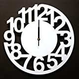 Art digital clock,Living room style wall clock [creative] Personality Large wall charts Silent [modern] Simple Decorative clock-White 16inch
