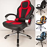 RayGar Red Deluxe Padded Sports Racing Chair Gaming Executive Swivel Computer Desk Recliner Office Chair - New (Red)