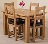Hampton Solid Oak (120 - 160 cm) Extending Dining Table & 4 Lincoln Chairs