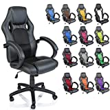 TRESKO Racing Style Faux Leather Office Chair Executive Chair Swivel Chair Black, 14 colours available, Padded armrests, Racer Gaming Chair with tilt function and nylon castors, ergonomically designed, Gas lift SGS tested