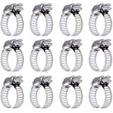 Siming 12 Pack Worm Drive Clamps, 9-16 mm Diameter Adjustable Stainless Steel Pipe Hose Clamp Hoops