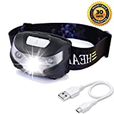 USB Rechargeable LED Headlamp Head Torch, HFAN Headlight 1X White, 2X Red Super Bright, Waterproof, Lightweight Headlamps with SOS for Running, Walking, Camping, Reading, Hiking, Outdoor sports etc
