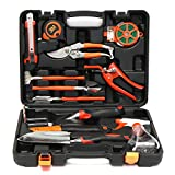 Durable Molded Hard Case 12Pcs Multifuntional Carbon Steel Household Garden Tools Set Kit Hardware Gardening Landscaping Toolbox Shovel \ Front Plants Flowering Parts Design Vegetable Gloves Edging Stuff Fruits Lawn Tree Outdoor Garden Birthday Items Product Organic Gardeners Accessories Designing Landscape