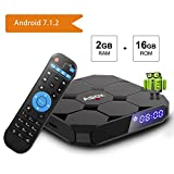 ABOX 4K 7.1 Android TV Box, 2GB RAM, 16GB ROM, Amlogic Quad Core 64 Bits Quad Core, H.265/WiFi 2.4GHz Smart TV Box,Support HDMI and HDR with Remote Control.