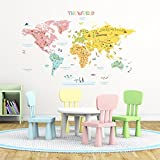 Decowall DLT-1616N Colourful World Map Kids Wall Stickers Wall Decals Peel and Stick Removable Wall Stickers for Kids Nursery Bedroom Living Room (Xlarge)