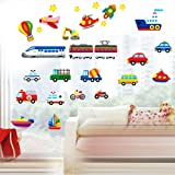 YESURPRISE New PVC 3D Creative Colorful Car Train Boat Transport Kids living room children's room backdrop Wall Stickers for children holiday party baby kid's room bedroom wallpaper art Mural decal Paper House Sofa Room Nursery Decorative Home DIY Decoration - The Perfect Birthday, Christmas Gift