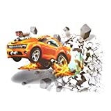 JETTINGBUY 3D Self-adesive Removable Break Through the Wall Vinyl Wall Stickers, 3D Car Wall Stickers Living Room Bedroom Decal Cartoon Boys Teens Kids Children Room Wall Art Murals Wallpaper Poster
