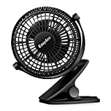 [High Quality] EasyAcc Mini USB Clip Fan Desk Personal Fan Quiet Operation Desk Fans mini fan table fan 2 Speed Portable Cooling Fan USB Powere by NetBook, Computer MacBook, Power Bank, and PC, 360° up and down ,for Home Office -- Black